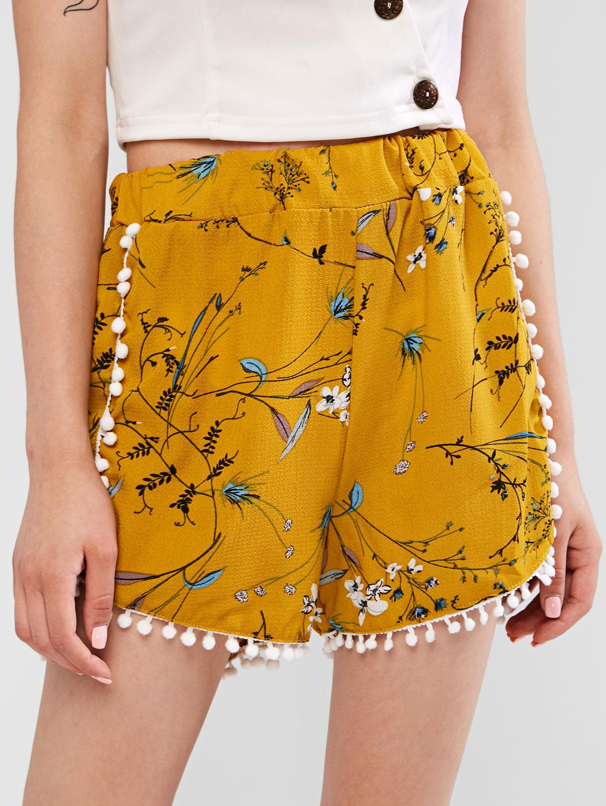Pineapple Tiny Floral Pompoms Wide Leg Shorts