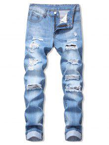 جينز بنمط باهت - ازرق 32