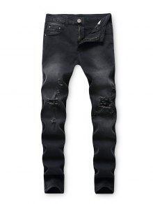 تدمير غسل انفجرت جينز طويل الجيب - أسود 32