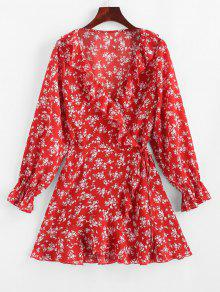 ZAFUL صغيرة الكشكشة الزهور غير المتماثلة اللباس التفاف - الحمم الحمراء M