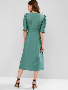 0cbce1d2d 27% OFF] [NEW] 2019 ZAFUL Puff Sleeve Button Front A Line Midi Dress ...