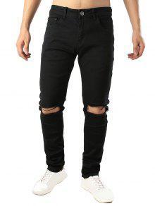 لون الصلبة تدمير هول طويل جينز عادية - أسود 32