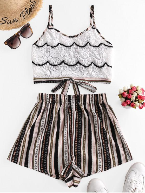 outfit Tied Back Lace Panel Stripes Two Piece Set - MULTI-A L