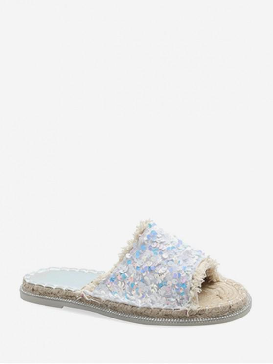 Sandales Plates en Paille à Paillettes - Blanc EU 36