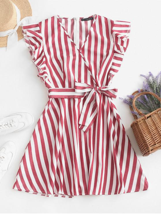 ZAFUL Striped Surplice Ruffled Belted Dress - Vino Rosso S