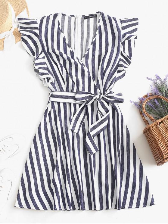 ZAFUL Striped Surplice Ruffled Belted Dress - Profondo blu S