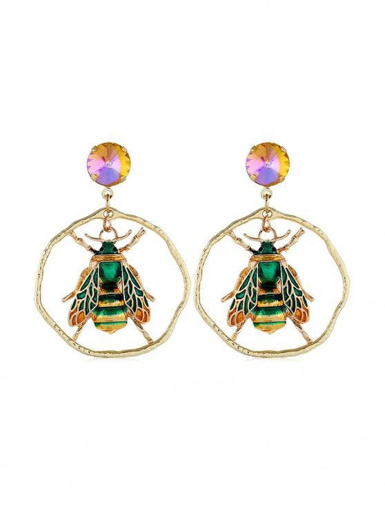 best Insect Design Faux Gem Decoration Earrings - DEEP GREEN