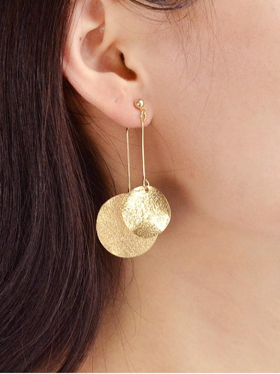 fancy Round Disc Design Alloy Earrings - GOLD