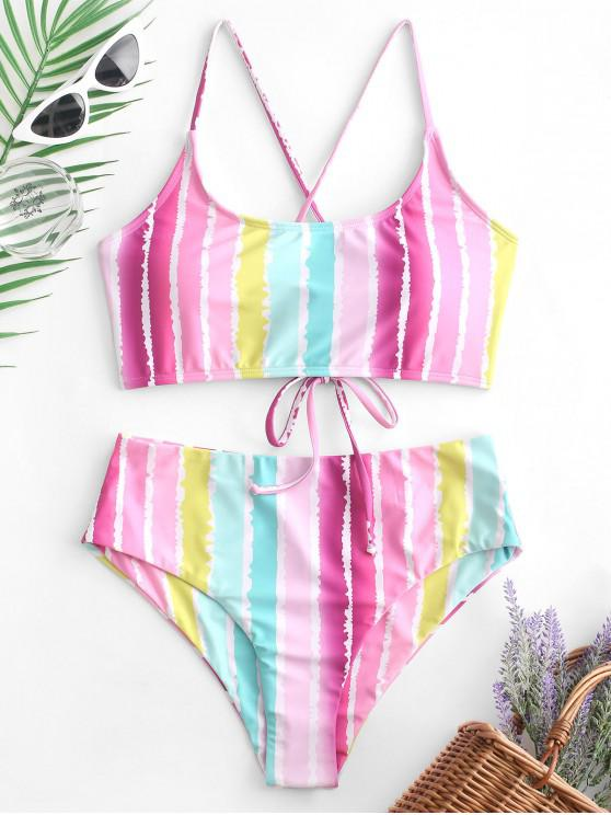 chic ZAFUL Rainbow Striped Lace-up Bikini Swimsuit - MULTI-A S