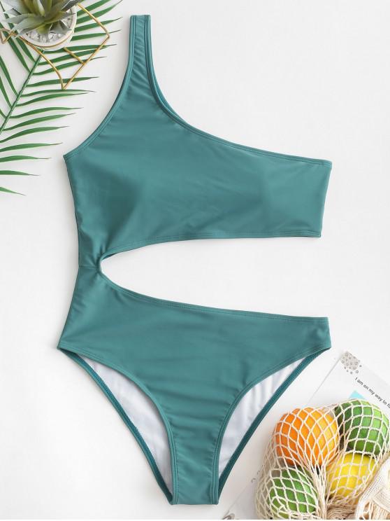 ZAFUL Cut Out de um ombro Uma peça Swimsuit - Arara-Azul-Verde M
