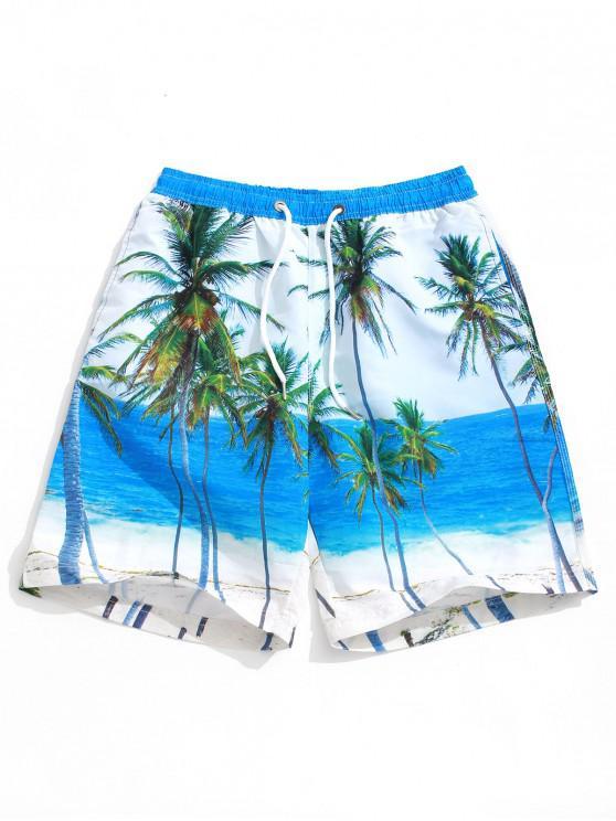 Paesaggio della palma del lato mare Stampa pantaloncini della spiaggia delle Hawaii - Multi Colori 2XL