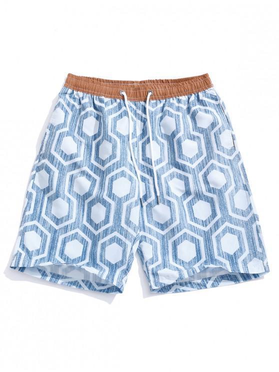 lady Geometric Print Holiday Beach Casual Shorts - BLUE GRAY M