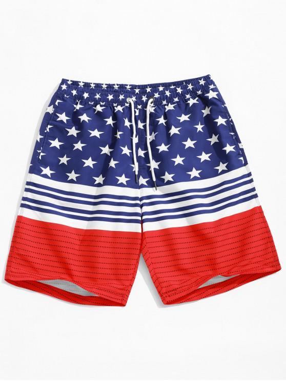 نجمة وسترايبس العلم الأميركي طباعة عطلة شاطئ السراويل - متعدد XL