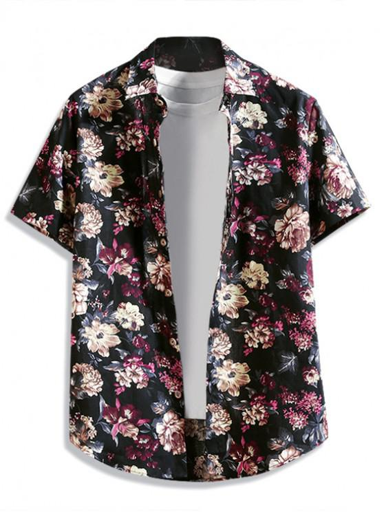 trendy Floral Print Button Up Curved Hem Shirt - BLACK M
