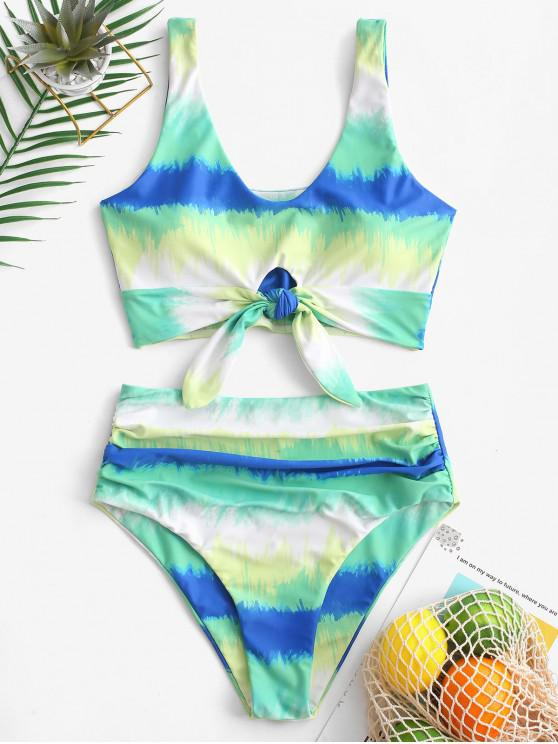 trendy ZAFUL Tie Dye Knot Ruched Tankini Swimsuit - MULTI-A S