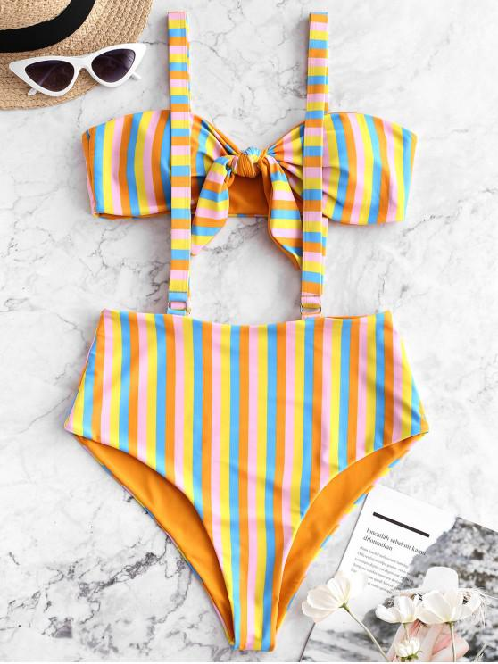 women ZAFUL Knotted Striped Reversible Suspender Bikini Swimsuit - SANDY BROWN S