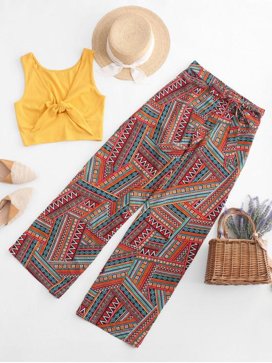 outfits ZAFUL Tribal Print Knotted Loose Two Pieces Suit - MULTI-E M