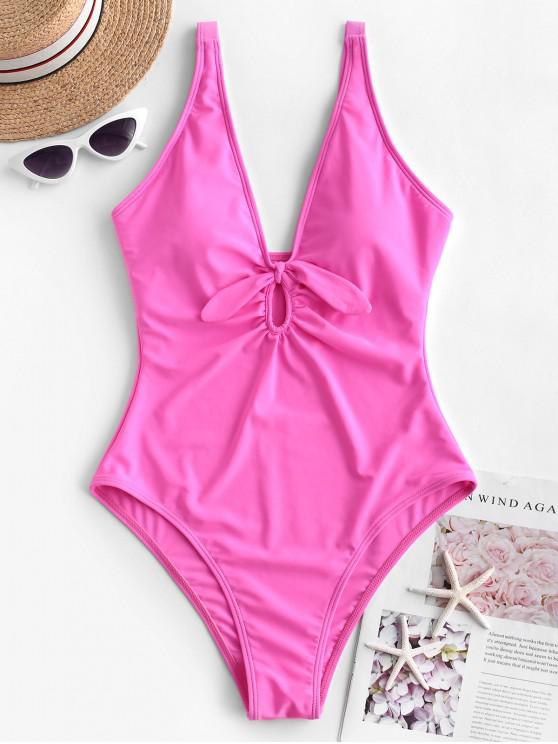 shop ZAFUL Keyhole Knotted Plunge High Waisted Swimsuit - HOT PINK XL