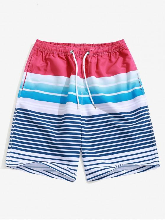 lady Ombre Striped Print Casual Beach Shorts - MULTI XL