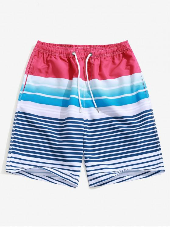 best Ombre Striped Print Casual Beach Shorts - MULTI 2XL