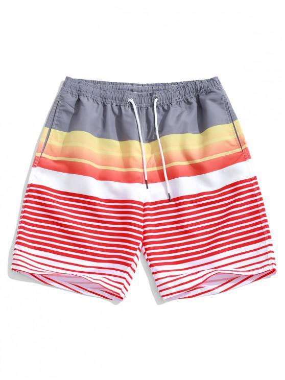 Shorts de playa con estampado a rayas de Ombre - Multicolor-A XL