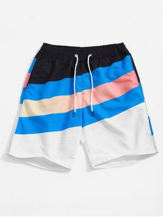 Pantalones cortos de tablero de impresión de rayas de empalme de bloques de color - Multicolor L