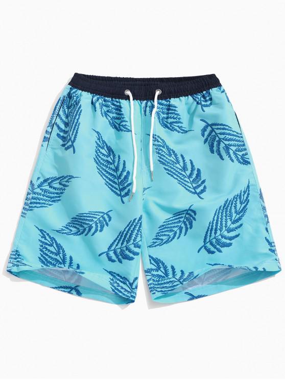 Shorts de playa con estampado de hojas de Hawaii - Celeste Ligero L