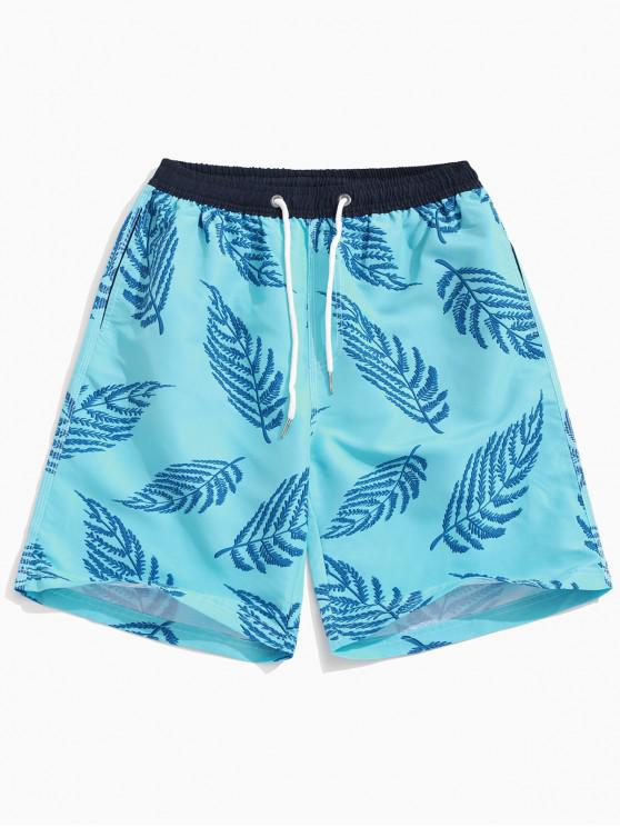 Shorts de playa con estampado de hojas de Hawaii - Celeste Ligero 2XL