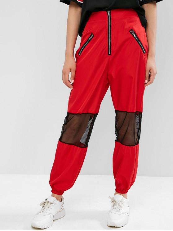 chic Zippered Mesh Panel Jogger Pants - CHESTNUT RED M