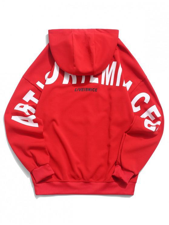 shops Applique Letter Graphic Print Drop Shoulder Hoodie - LAVA RED 3XL