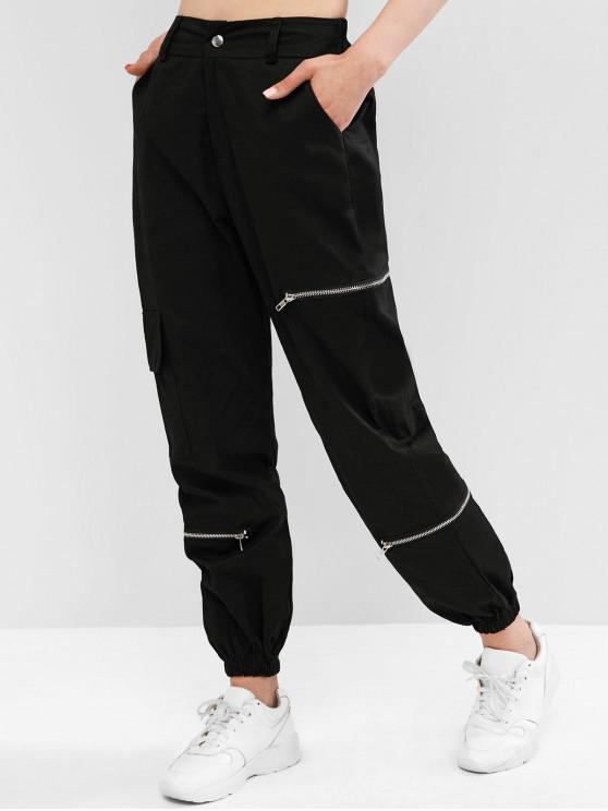 Pantalon de Jogging Zippé avec Poche à Rabat BLACK