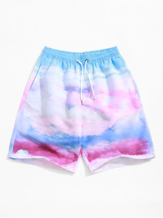 trendy Tie Dye Print Drawstring Casual Beach Shorts - MULTI M