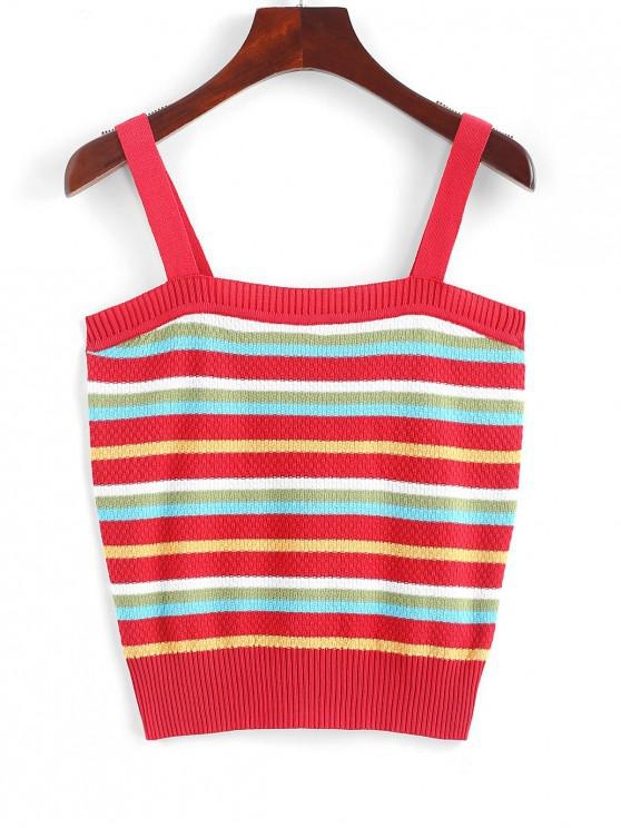 trendy Ribbed Hem Knitted Striped Tank Top - MULTI ONE SIZE