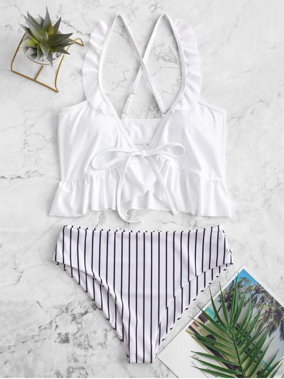 best ZAFUL Striped Ruffle Criss Cross Tankini Swimsuit - WHITE M
