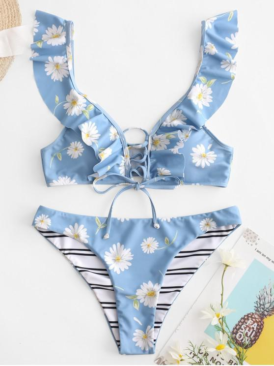 online ZAFUL Daisy Striped Lace Up Ruffle Bikini Swimsuit - BABY BLUE S