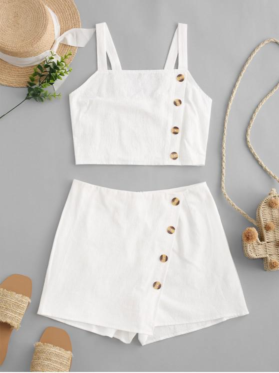 shop ZAFUL Buttons Smocked Overlap Two Pieces Suit - WHITE L