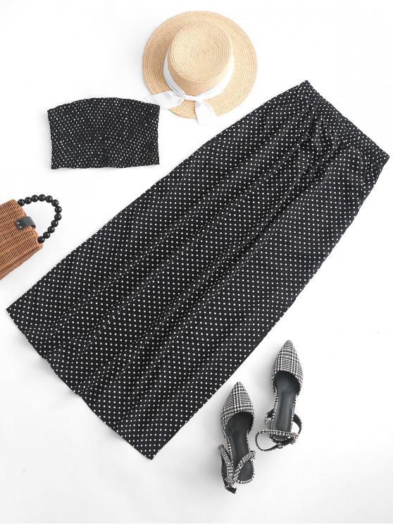 fancy ZAFUL Smocked Polka Dot Strapless Slit Skirt Set - BLACK L