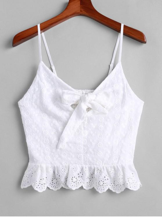 affordable Broderie Anglaise Knotted Smocked Flounce Cami Top - WHITE M
