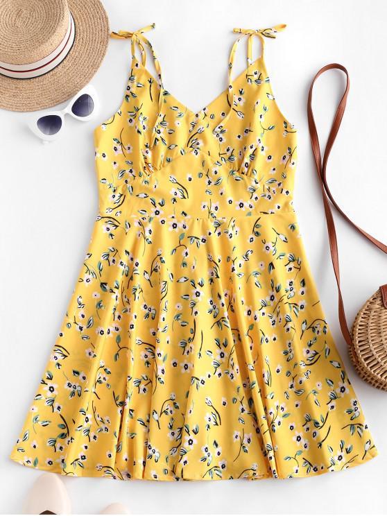 Mini abito svasato floreale minuscolo aperto sul retro - Giallo L