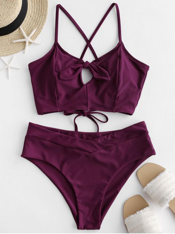 shop ZAFUL Lace Up Cross Knotted Tankini Swimsuit - MAROON S
