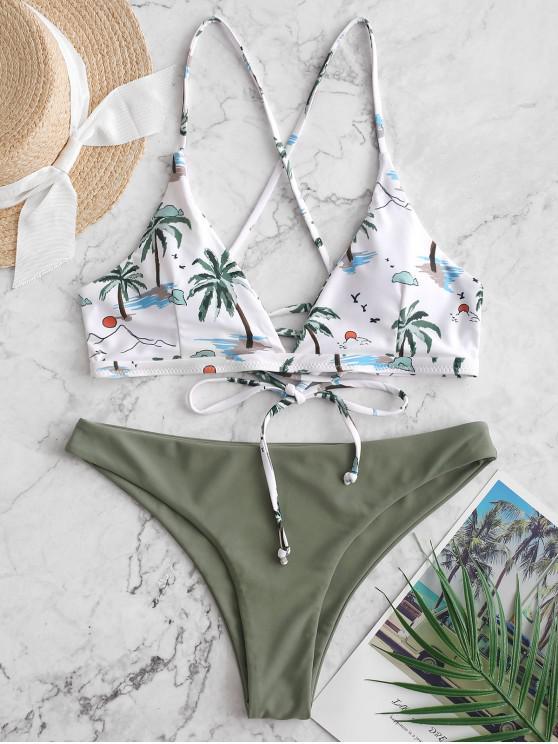 ladies ZAFUL Coconut Palm Lace Up Padded Bikini Swimsuit - MULTI-A M