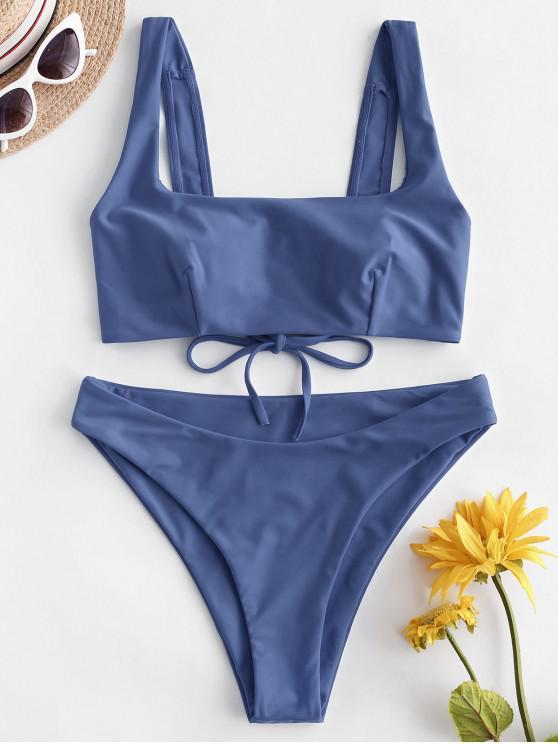 Costume da bagno bikini a gamba alta con cinturino quadrato ZAFUL - Blu Fiordaliso S