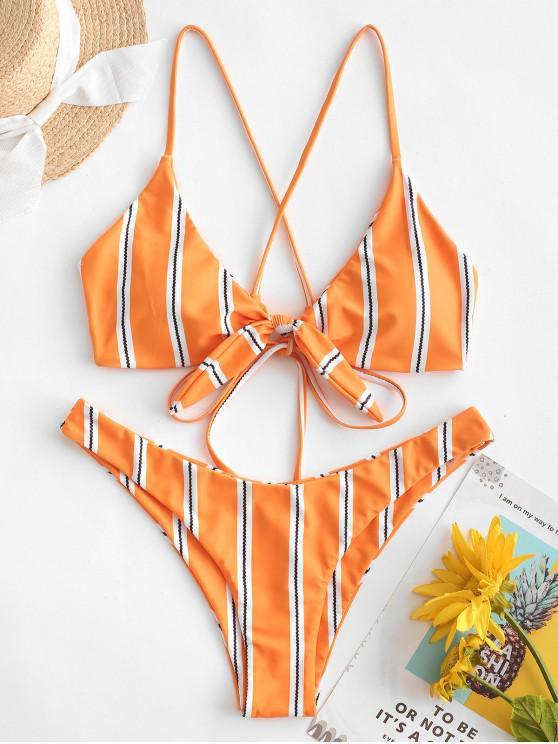 ZAFUL مخطط كريسس الصليب مرتبطة بيكيني ملابس السباحة - نحلة صفراء S