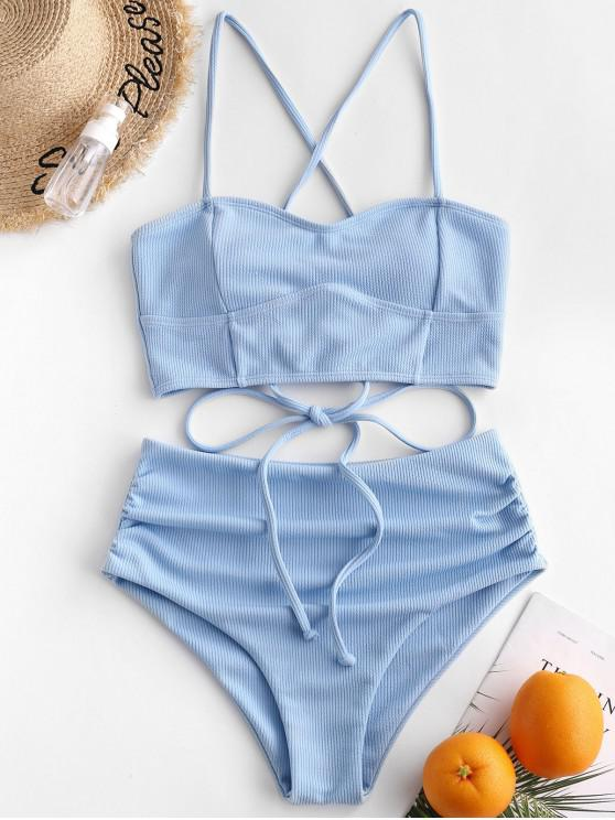 hot ZAFUL Ribbed Lace Up Tummy Control Tankini Swimsuit - DAY SKY BLUE XL
