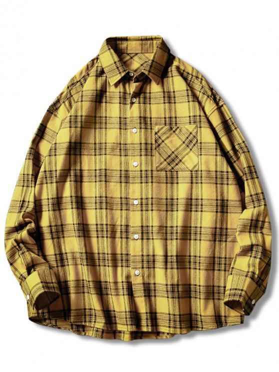 best Plaid Print Button Up Casual Pocket Shirt - YELLOW XL