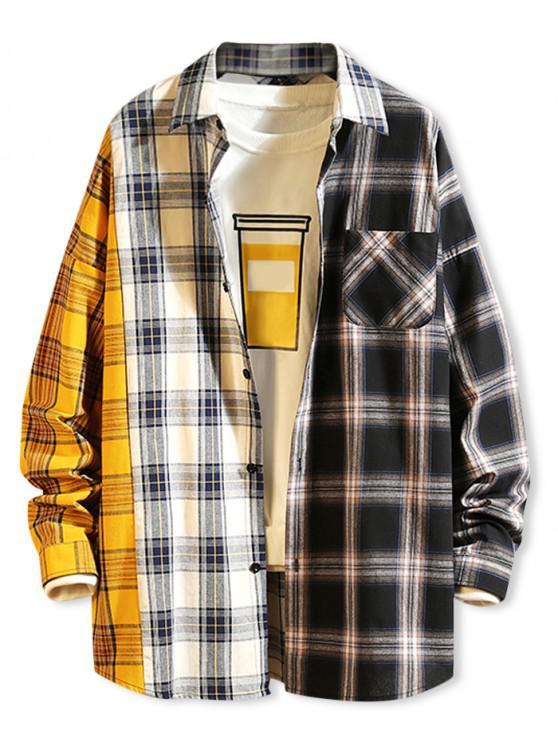 Camicia a quadri a contrasto - Bianca XL