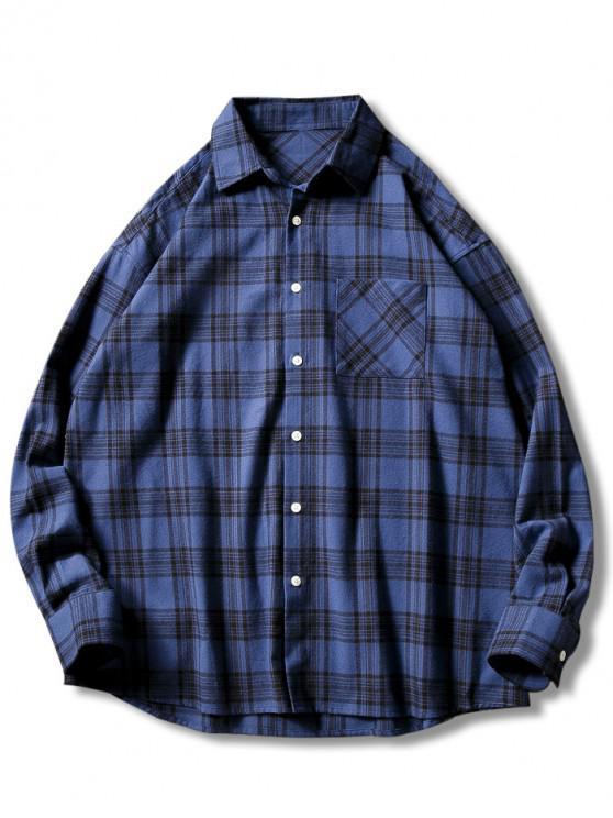 unique Plaid Print Button Up Casual Pocket Shirt - BLUE L