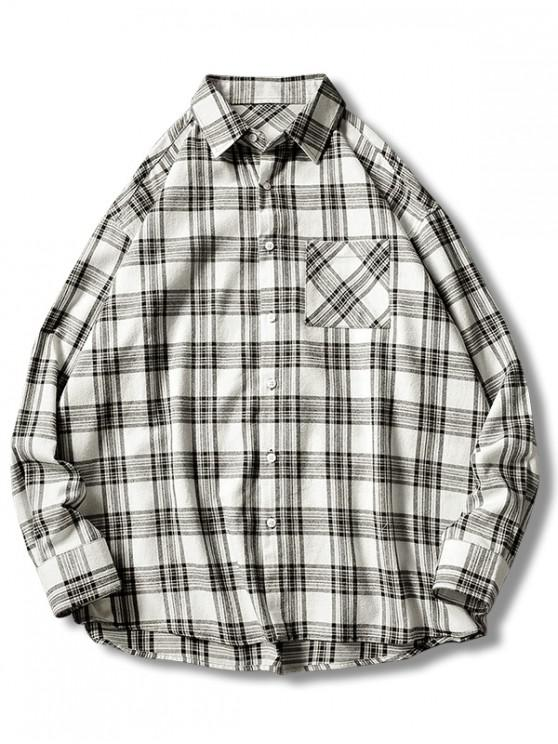online Plaid Print Button Up Casual Pocket Shirt - WHITE XL