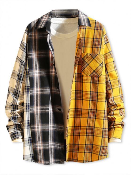 sale Contrast Plaid Print Button Up Pocket Shirt - BLACK L