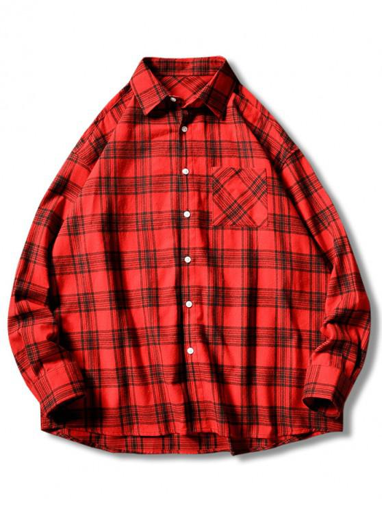 outfits Plaid Print Button Up Casual Pocket Shirt - RED XL